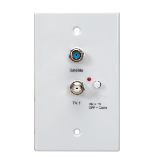 Powered Distribution Wall Plate | +2 TV outputs, on/off switch [White] (Compatible with HD VISION 360® Antenna) - Conversions Technology