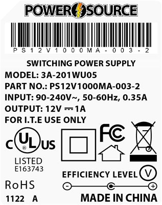Theta  |  Power Supply  |   12V 1000MA 2.1 x 5.5 Desktop Two Piece - Conversions Technology