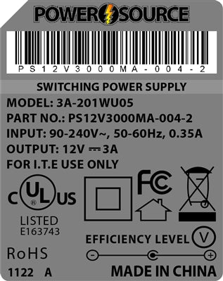 Theta  |  Power Supply  |   12V 3000MA 2.5 x 5.5 Desktop Two Piece - Conversions Technology