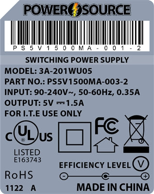 Theta | Power Supply | 5V 1500MA 1.35 x 3.5 Desktop Two Piece - Conversions Technology