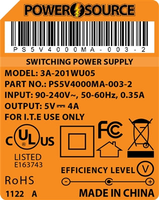 Theta | Power Supply | 5V 4000MA 2.1 x 5.5 Desktop Two Piece - Conversions Technology