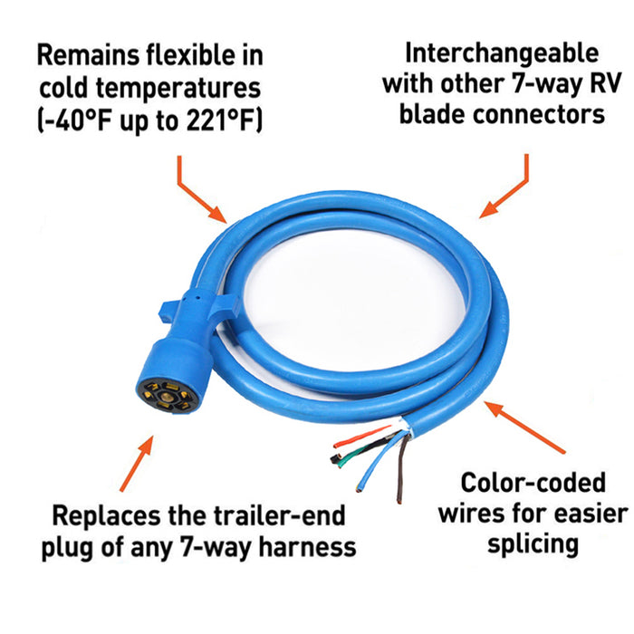 RV Marine | 10 ft 7-Way Heavy duty cold weather trailer RV cable - Conversions Technology