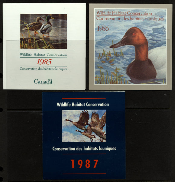 Canada 3 Booklets Wildlife Habitat Conservation 1985,1986,1987 Lovely Group