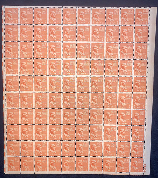 US Scott 803 Franklin Prexie Mint Sheet of 100 Stamps