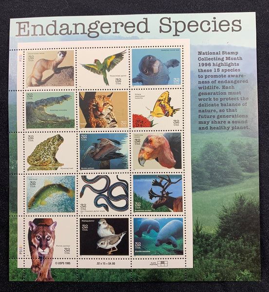 US 3105 ENDANGERED SPECIES MINT SHEET NH Reptiles