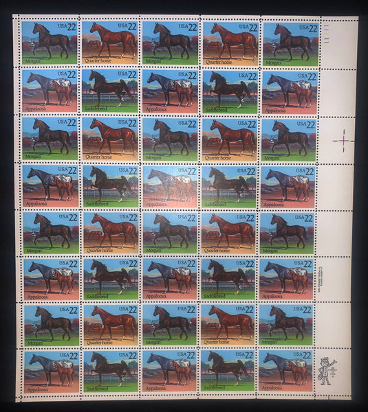 US Scott 2155-58 AMERICAN HORSES MINT NH Sheet