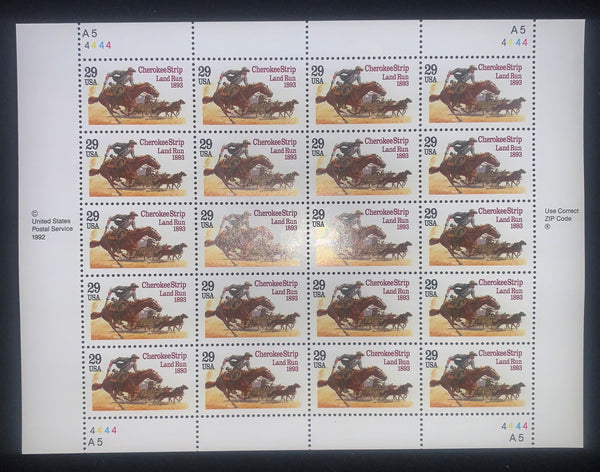 US Scott 2754 29c Cherokees Mint Sheet of 20 Horses