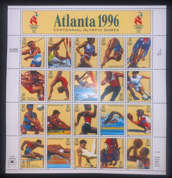 US Scott 3068 32c 1996 Olympics Mint Sheet of 20 Javelin Soccer Volleyball Track Gymnastics Diving  Rowing Swimming Cycling Equestrian Shot Put Sailing Basketball