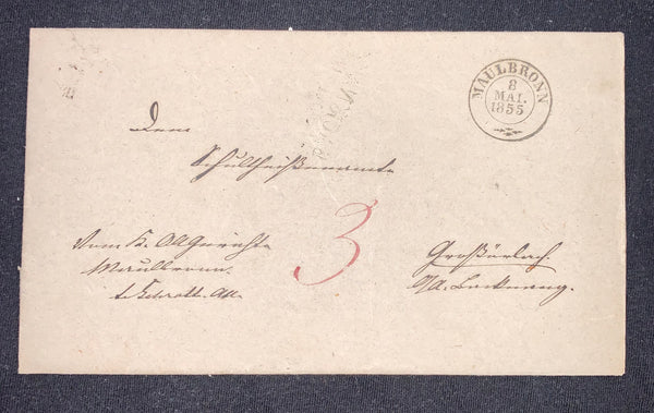 Wurttemberg Prestamp Cover 1855 Maulbronn Black Cds