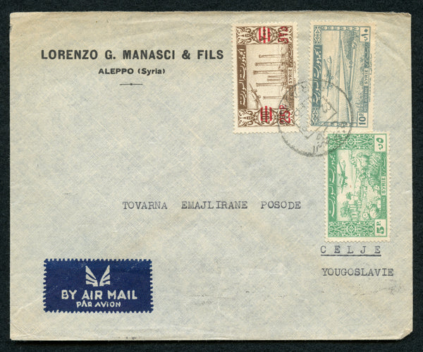 Syria 1949 Cover to CELJE Yugoslavia Franked with Fiscal Stamp