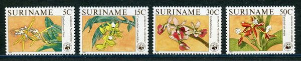 Surinam Scott 743-746 Orchids Flowers Mint Never Hinged set $49.50
