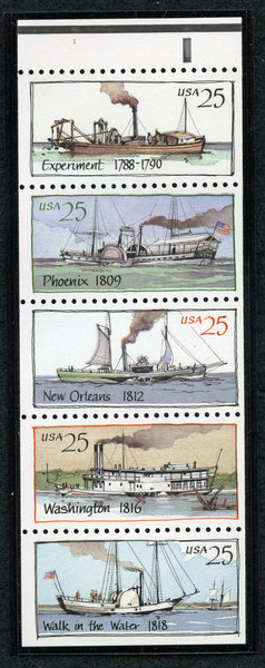 US 2409a River Boats Never Folded Pane Mint NH