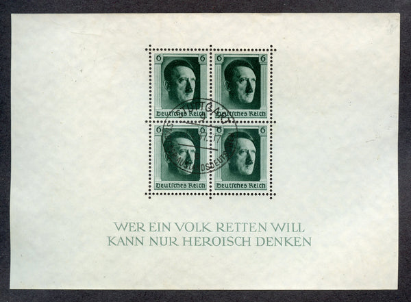 Germany B102 Hitler Souvenir Sheet Used