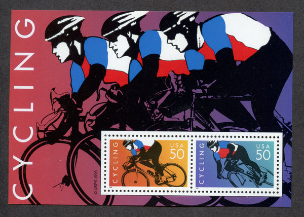 US 3119 Cycling Souvenir Sheet NH Bikes