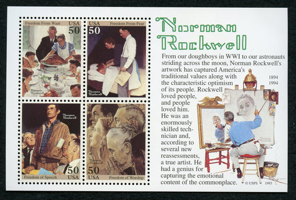 US 2840 Norman Rockwell SOUVENIR SHEET OF4 NH