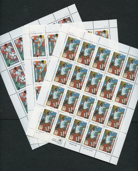 US 2834-2836 Soccer World Cup 1994 Mint NH Sheets