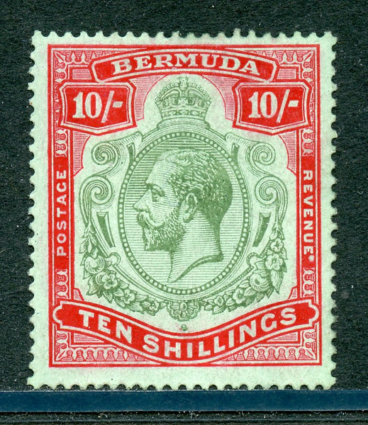 Bermuda Scott 96a SG 92C Ten Shillings Glazed Gum H