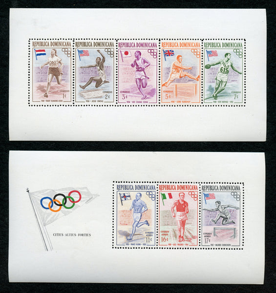 Dominican Republic Scott 478a, C99a 4 S. Sheets Mint NH Olympics Track Discus  Hurdles