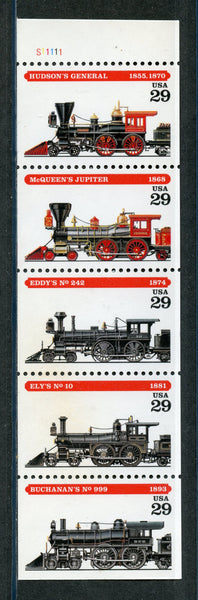 US Scott 2847a Trains Never Folded Booklet pane Mint NH