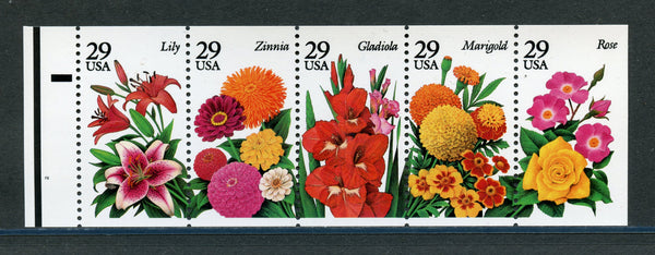 US Scott 2833a Never Folded Booklet Pane Mint NH Flowers