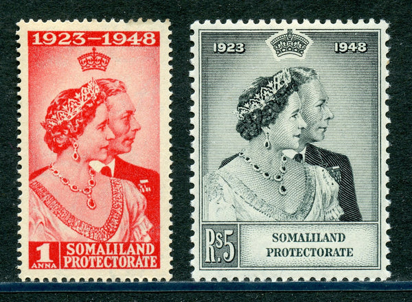 Somaliland Scott 110-11 SG 119-20 GVI Silver Wedding Mint NH