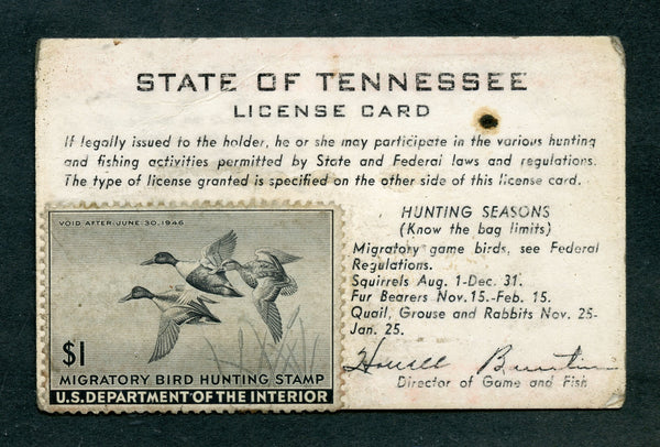 US RW12 On A 1945 Tennessee License