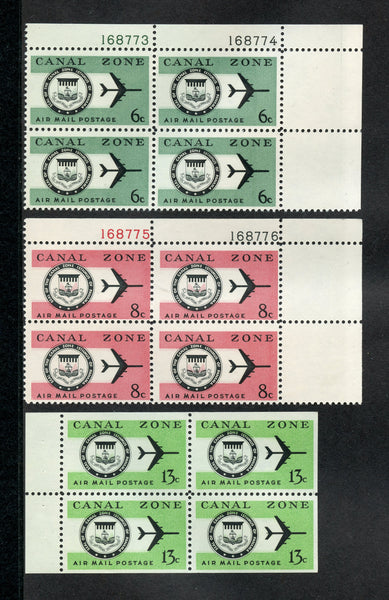 US Canal Zone C42-43, C50a  Pl. Blocks & Booklet Pane Mint NH