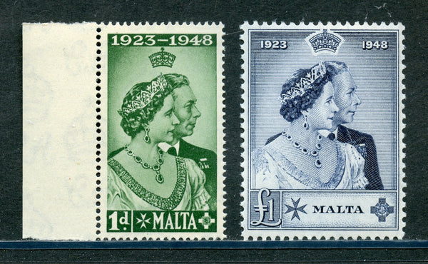 Malta Scott 223-24 KGVI Silver Wedding Mint NH