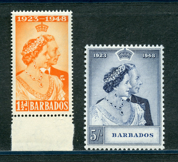 Barbados Scott 210-211,SG 265-266 KGVI 1948 Silver Wedding VF Mint NH