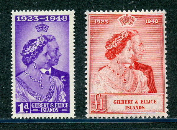 Gilbert & Ellis Sc.54-55 SG57-58 KGVI 1948 Silver Wedding Mint NH