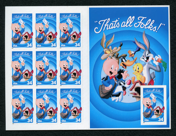 "US Scott 3534 Disney  ""That's All Folks Pane"" Mint NH"