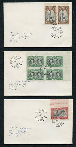 Canada Scott 246-8 on 3 covers