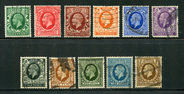 Great Britain Scott 210-20 SG 439-49 KGV Used Set