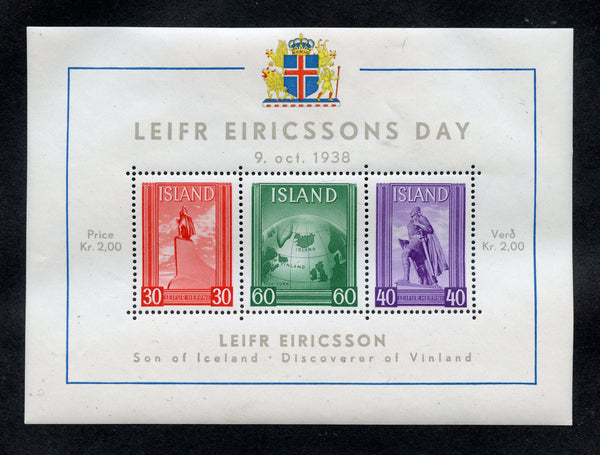 Iceland Scott B6 Lief Erickson Mint NH S. Sheet