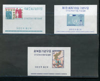Korea Scott 317a, 321a, 328a Mint NH Souvenir Sheets