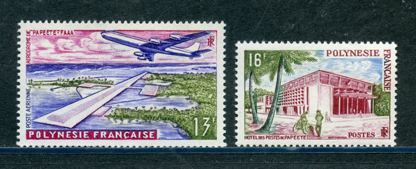 French Polynesia Scott 195, C28 Mint NH Set