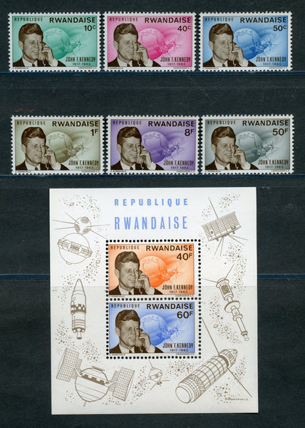 Rwanda Scott 131-36 Swt and S. Sheet kennedy Mint NH Space