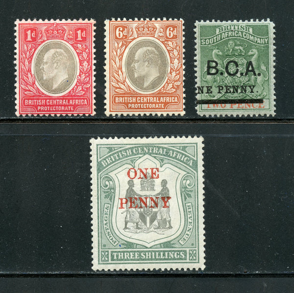 British Central Africa Scott 20, 57, 70, 73 Mint LH