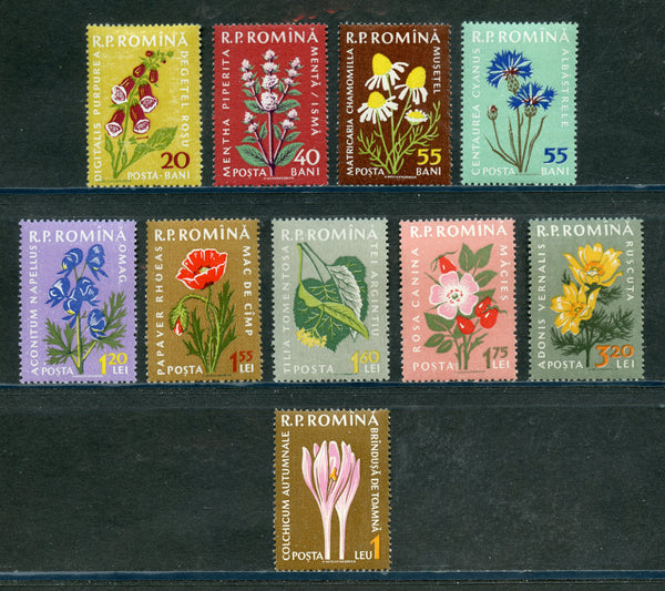 Romania Scott 1298-1307 Mint NH Set Flowers