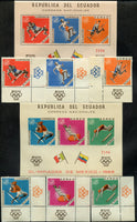 Ecuador Scott 760-760efg Olympic Set and 2 S. Sheets Mint NH Soccer