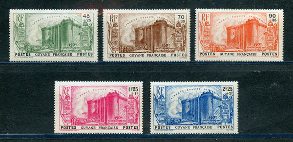 French Guiana Scott B4-8 Mint HR Set Castle