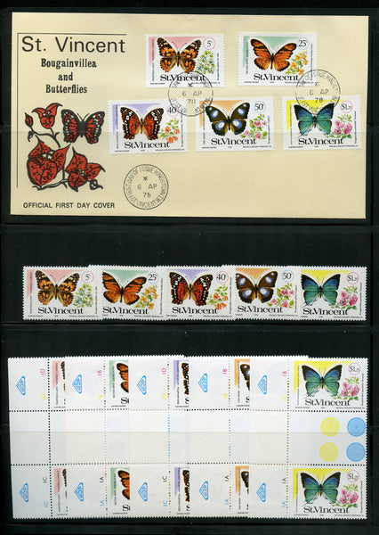 St. Vincent Scott 523-27 Mint NH Set, Gutter Pairs, FDC Butterflies
