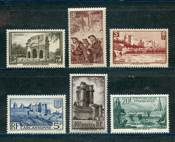 France Scott 342-47 Mint LH Set Castle
