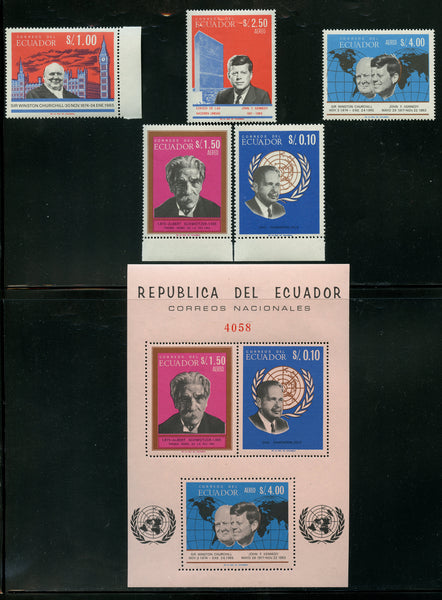 Ecuador Scott 753-753d,753e Mint NH Set and S. Sheet Kennedy