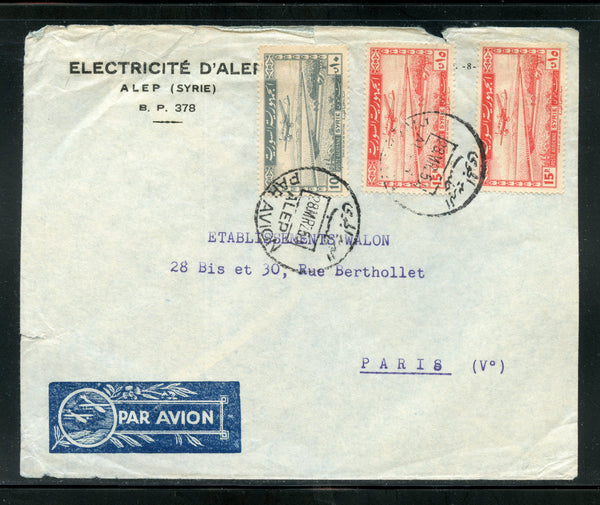 Syria 1950 Airmail Cover Aleppo To Paris