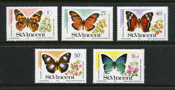 St. Vincent Scott 523-27 Butterflies Mint NH Set