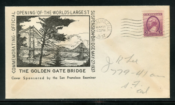US Golden Gate Bridge Opening cachet cover