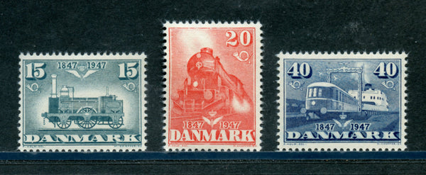 Denmark Scott 301-3 Trains Mint NH Set