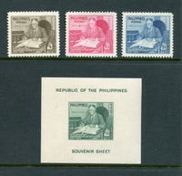 Philippines Scott 542-44, C70 Roosevelt Set and S. Sheet Mint LH