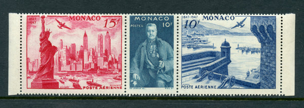 Monaco Scott C20a Roosevelt Strip 3 Mint NH